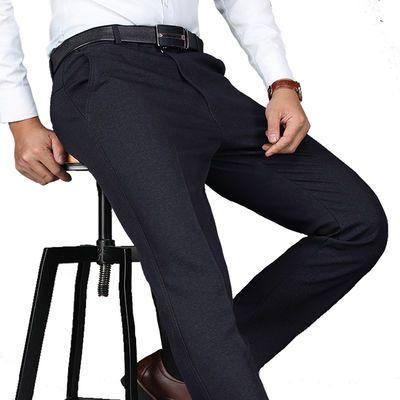 中老年人男裤春季无绒休闲裤加厚款中年男装男士西裤春秋爸爸裤子