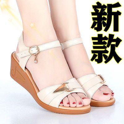 100%【头层牛皮】新款妈妈凉鞋夏季女凉鞋百搭舒适坡跟防滑大码鞋
