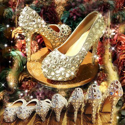 2019新款春季水晶鞋婚鞋新娘鞋超高跟细跟银色大码结婚伴娘女鞋子