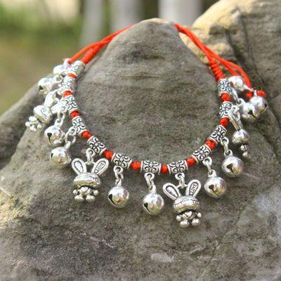 铃铛脚链2020闺蜜情侣生日礼物红绳编织十二生肖手链复古苗银饰品