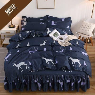 皇冠床裙床罩四件套四季通用像全棉双边床单床套1.5米1.8床上用品