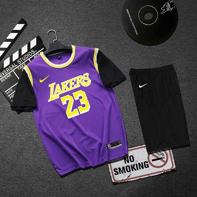 篮球服T恤男女NBA欧文詹姆斯韦德球衣湖人凯尔特人套装短袖假两件