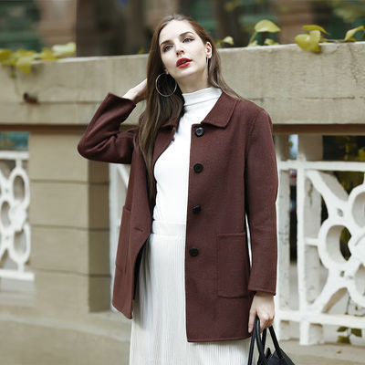 手缝双面呢羊毛大衣女中长款英伦风冬季毛呢欧洲羊绒妮子外套9806