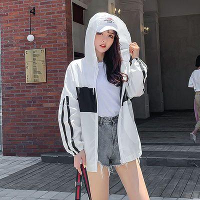夏季韩版宽松防晒衣女学生薄外套新款原宿BF拼色中长款防晒服潮