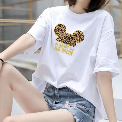 夏季韩版刺绣百搭上衣女生时尚卡通白色宽松短袖t恤女2020新款潮