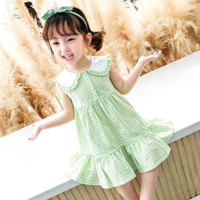 童装女童夏季连衣裙2020新款夏装宝宝绿格子裙洋气儿童公主裙子潮