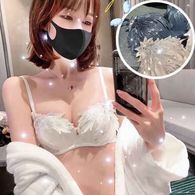 只亏今天】性感蕾丝刺绣文胸套装无钢圈女小胸罩聚拢调整型内衣厚
