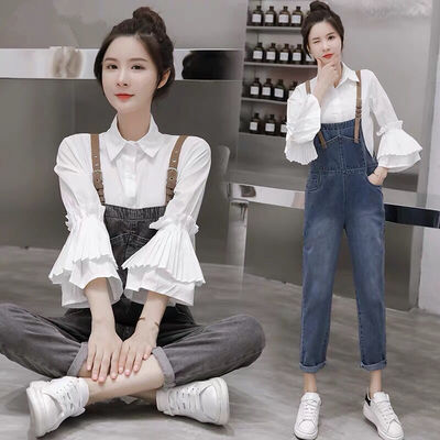 单件/套装牛仔背带裤女2020韩版宽松九分裤+打底衫新款两件套套装