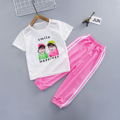 女童套装休闲韩版中大童两件套女孩夏装圆领短袖洋气九分裤潮