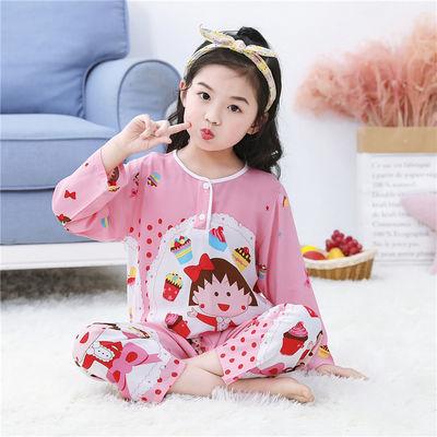 儿童棉绸睡衣夏季大中小男孩女孩薄款长袖绵绸空调服家居服套装