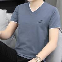【95棉】夏季男士短袖T恤V领韩版休闲男装上衣纯色半袖体恤衫男款