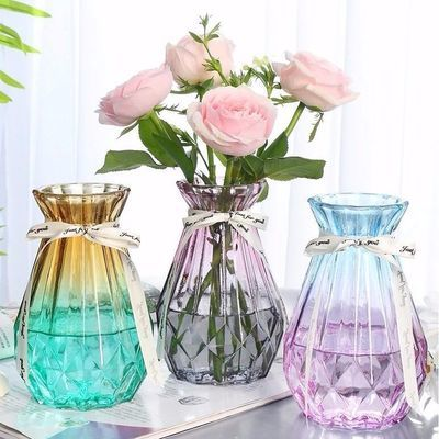 简约创意玻璃花瓶透明水培绿萝植物玻璃花瓶家用插花客厅装饰摆件