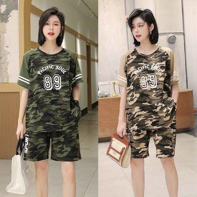 实拍 韩版2020夏季女迷彩纯棉短袖T恤中裤五分裤两件套套装学生潮