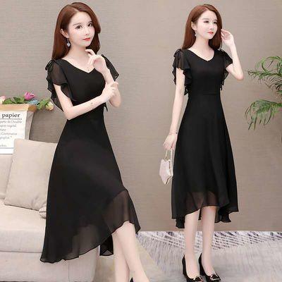 纯色连衣裙2020夏新款女韩版中长款不规则气质雪纺有女人味的裙子