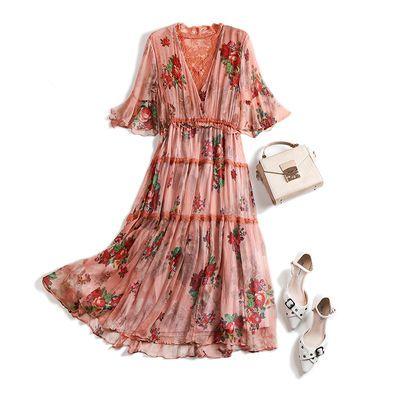 欧洲站2020新款欧货潮很仙的法国小众V领真丝中长款连衣裙女夏装