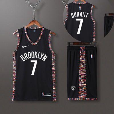 篮网球衣夏NBA背心篮球服套装男训练服11号欧文7号杜兰特球衣定制