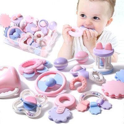 爆款 婴儿玩具安全可啃咬水煮牙胶手摇铃礼盒新生儿礼物送礼品摇