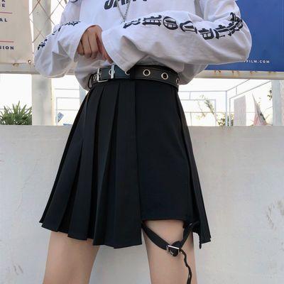 【送腰带】朋克jk百褶裙短裙女春夏季大码胖mm绑腿环半身裙裤裙子