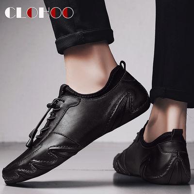 新款CLOHOO【真牛皮】流行男鞋透气八爪鱼皮鞋男休闲皮鞋男豆豆鞋