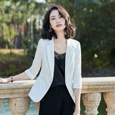 新款2020春季条纹小西装外套女韩版气质修身面试工作装YZH8830