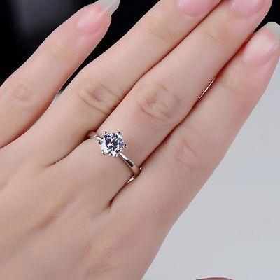 【买一送一送证书】精美礼品银饰不掉色一克拉戒指女简约开口可调