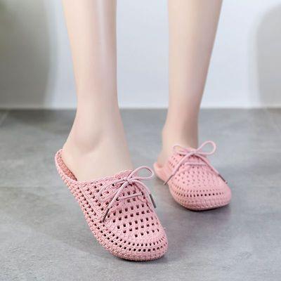 夏外穿学生韩版系鞋带拖鞋洞洞鞋凉透气女外穿防滑包头休闲拖鞋女