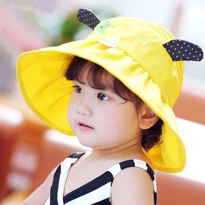 儿童太阳帽女2-9岁空顶帽户外遮阳防晒沙滩帽子宝宝大帽檐凉帽夏