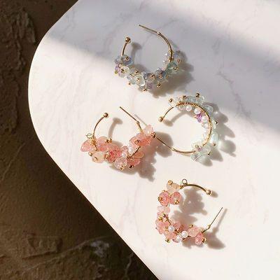 粉红色水晶耳环耳圈女不规则韩国气质网红银针耳扣式超闪气质耳钉