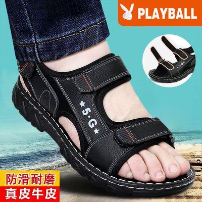 夏季新款真皮凉鞋男韩版潮流男士凉鞋厚底防滑沙滩鞋真皮凉拖鞋男
