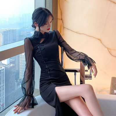 复古少女灯笼袖网纱拼接改良旗袍性感暗黑系开叉修身中长款连衣裙