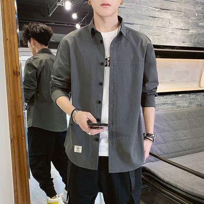 富贵鸟正品男士纯棉长袖衬衫春秋季新款韩版潮流休闲宽松工装衬衣