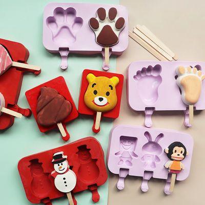 diy硅胶雪模具食品级冰棒冰糕冰激凌盒冰棍模具家用制作卡通冰块