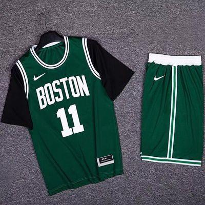 凯尔特人欧文11号NBA球衣潮T恤假两件短袖透气速干篮球运动训练服