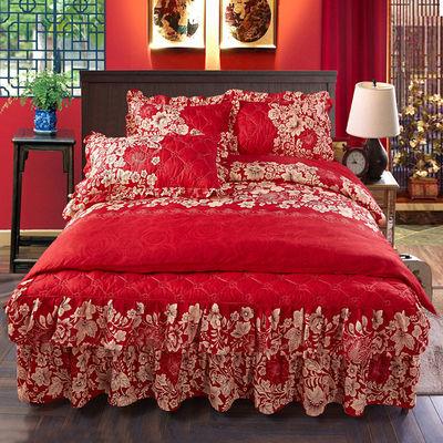 夹棉床裙四件套床罩公主风被子床单被套三件套结婚婚庆床上用品
