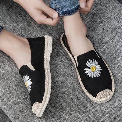 夏季韩版潮流百搭一脚蹬懒人豆豆板鞋男士休闲老北京帆布鞋子学生