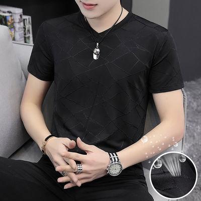 冰丝短袖t恤男超薄透气V领短袖男T体恤韩版修身打底弹力男t恤半袖