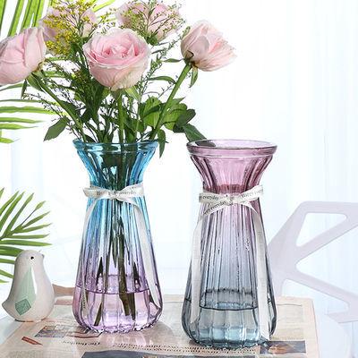 大号玻璃花瓶透明富贵竹风信子百合客厅插花创意加厚花盆器皿家用