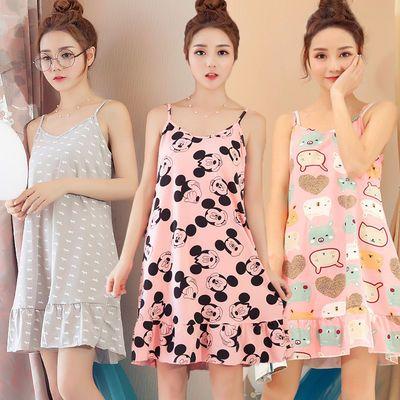 100%纯棉吊带睡衣女夏季裙子纯棉莫代尔韩版学生可爱性感睡裙女士