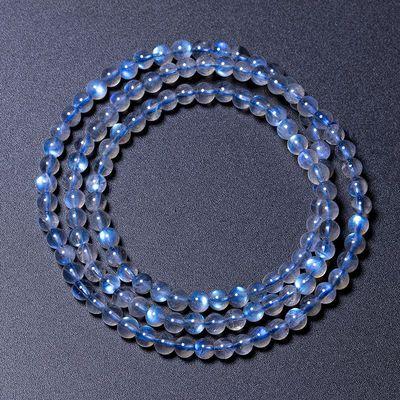 直播看货天然水晶拉长石灰月光石多圈手链冰种带蓝光手串情侣礼物