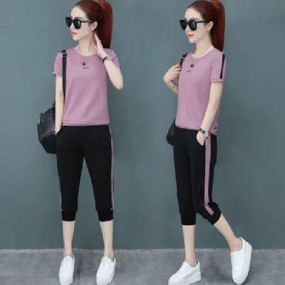 2020夏装新款韩版短袖七分裤运动套装女夏天显瘦休闲上衣裤套装潮