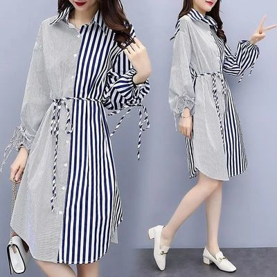 含棉大码女装2020秋装新款胖mm长袖宽松连衣裙时尚不对称衬衫裙子