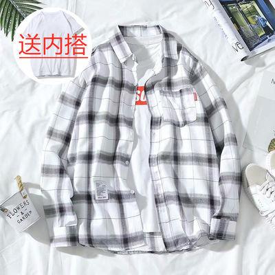 夏季格子衬衫男学生韩版潮流白色休闲百搭衬衣宽松情侣装外套上衣