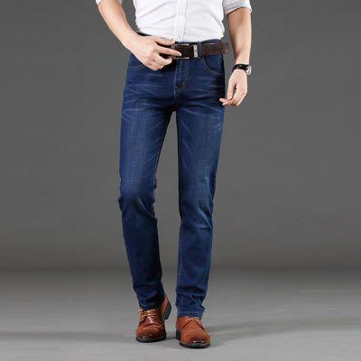 春夏新款加绒加厚牛仔裤男弹力直筒保暖修身青年商务男装长裤