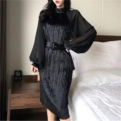 分割少女款改良金丝绒旗袍裙秋装新款修身显瘦雪纺灯笼袖性感连衣