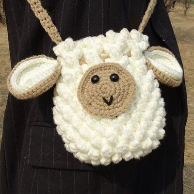 小绵羊手工编织包包斜跨手提diy材料包钩针编织水桶束口包送女友