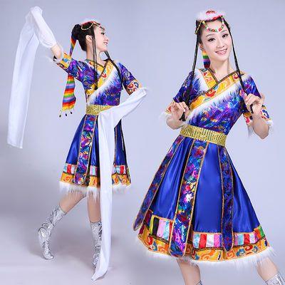 新品女装民族舞蹈服装表演服饰西藏蒙古广场舞水袖藏族舞蹈演出服