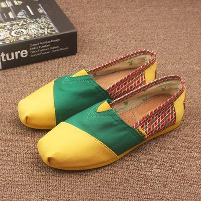 老北京帆布鞋女2020夏季新款时尚布鞋女士轻便一脚蹬平底休闲单鞋