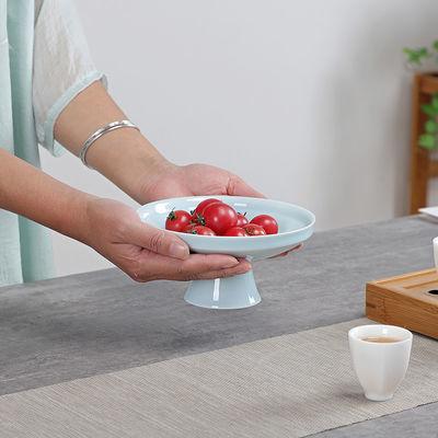 中式陶瓷茶点盘高脚果盘婚庆红坚果盘点心水果茶道客厅干果盘果碟