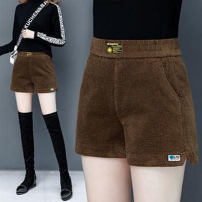 灯芯绒条绒短裤女2020新款阔腿裤春秋季高腰显瘦外穿打底裤靴裤子