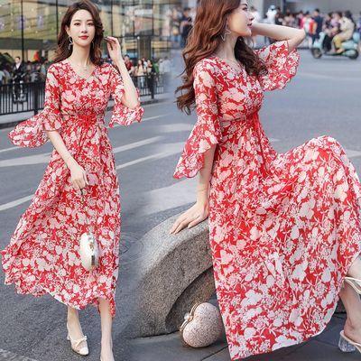 碎花雪纺连衣裙2020新款夏收腰显瘦荷叶边气质小清新甜美超仙长裙